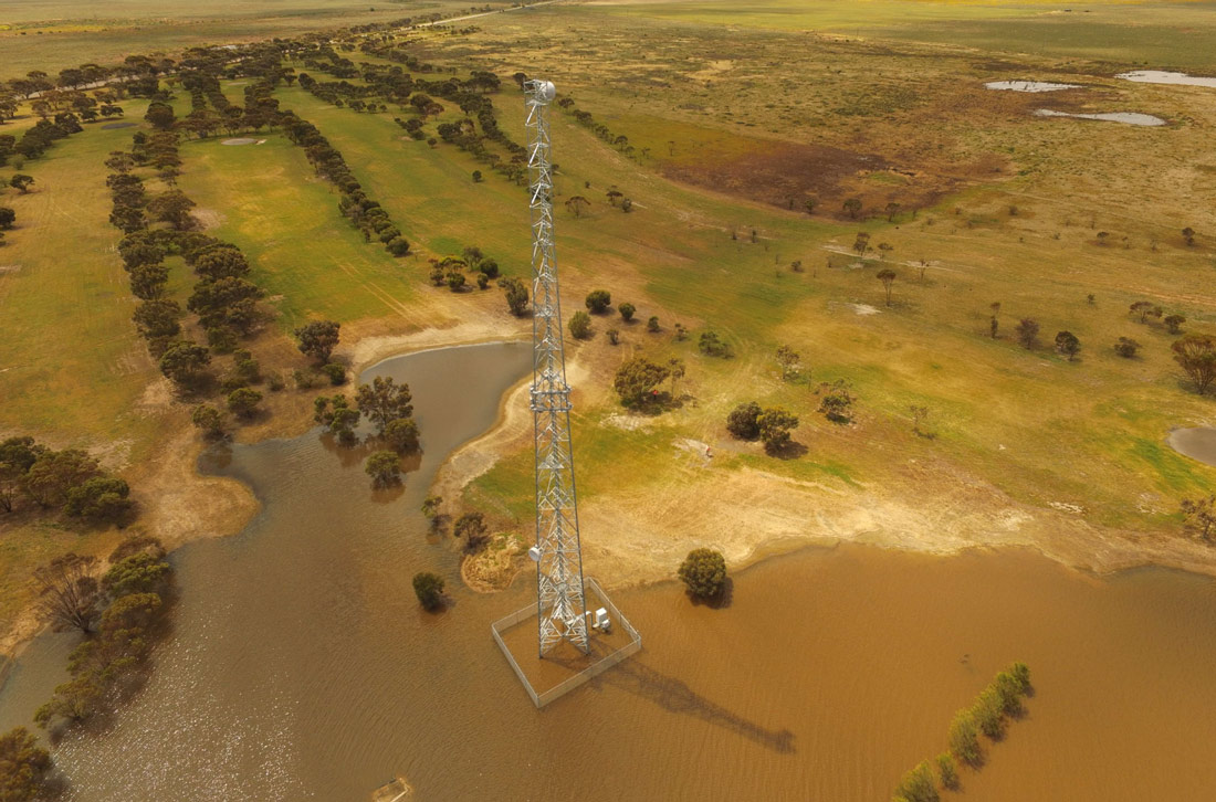 Drone inspection of a flooded telecom tower