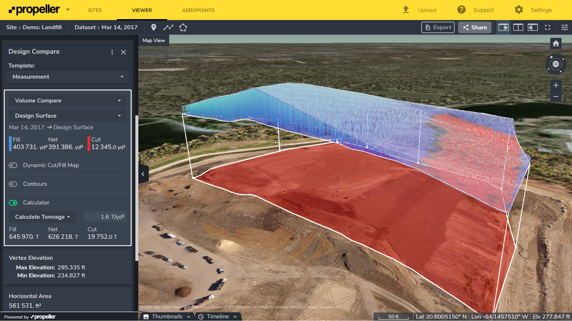 3D visualization of a landfill airspace