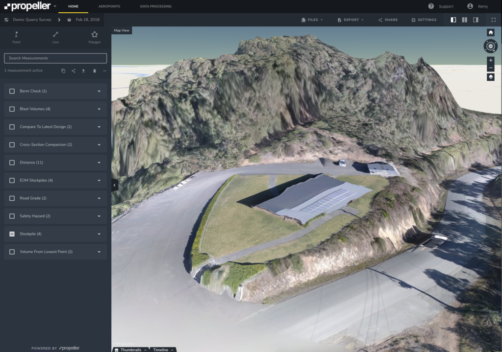filtering used to remove buildings from drone data