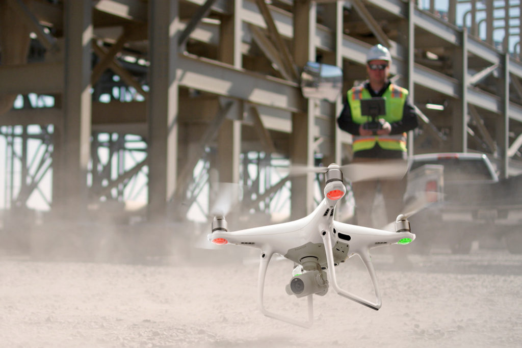 Drone takeoff on a construction site