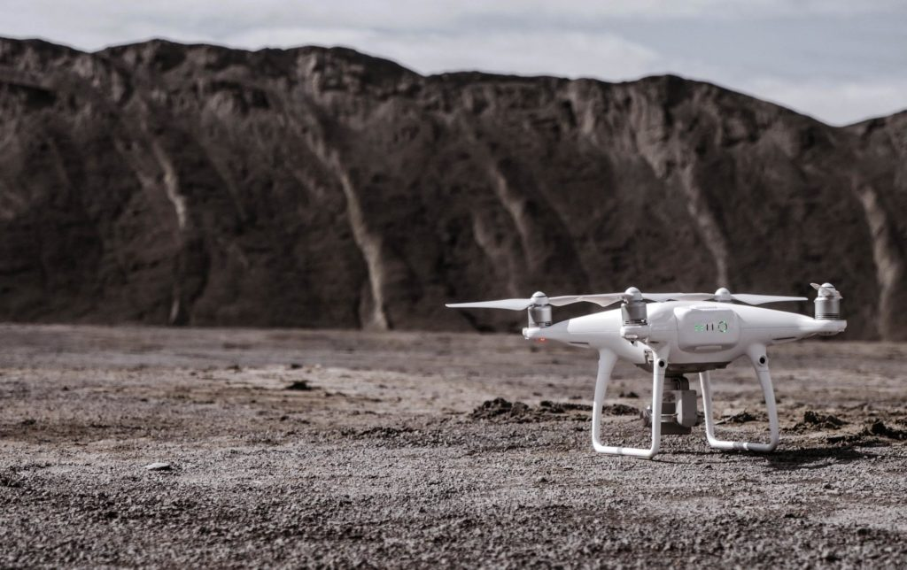 drone on a quarry site