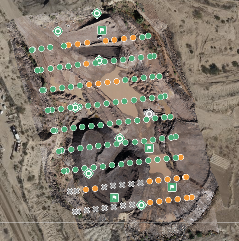 orthophoto of construction site showing drone placement when aerial photos were taken